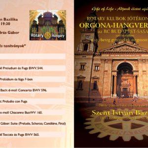 Hagyományos jótékonysági orgonakoncertünk a Szent István Bazilikában