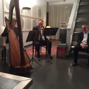 Hárfa-pozan koncert a Rotary Club Dresden-Canaletto elnöke, Stefan Heinemann dr. házában.